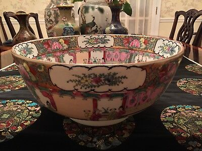 Chinese antique exports famille rose porcelain punch bowl huge handmade
