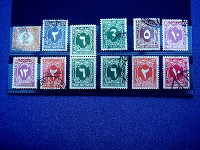 EGYPT POSTAGE DUES SELECTION ELEVEN values 1889-1927 Issues TWELVE STAMPS.