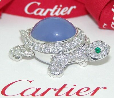 CARTIER LARGE SIZE 18kWG DIAMOND CHALCEDONY EMERALD ARTICULATED TURTLE BROOCH