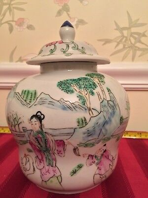 Chinese antique famille rose porcelain ginger jar with lid Qing Tongzhi handmade