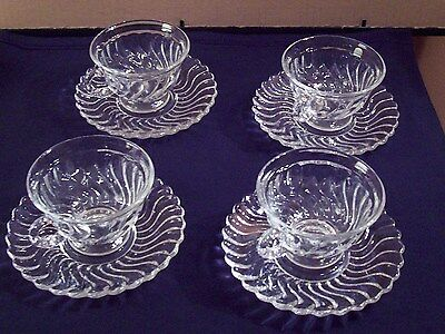 4 Fostoria Glass Clear Colony Pattern Cups & Saucers Swirl Looking Pattern