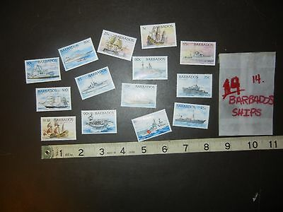 SHIPS Boats DEFINITIVES Barbados 1994 set of 14 total (SC 872-85) MNH C045
