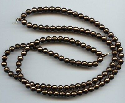 "1 VINTAGE GLASS MINK 6mm. BEADED DUAL STRING 15"" TIPPED SECTION 2867"