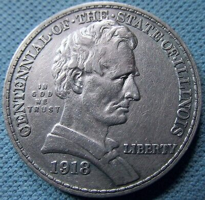1918 Illinois Centennial Lincoln Half Dollar Silver From an Old Collection (MJN)