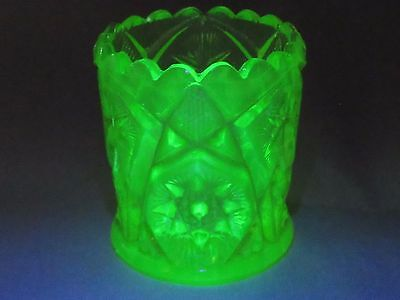 Vaseline GLOWS Imperial Glass Hobstar & Arches Toothpick Holder #29 Free US Ship
