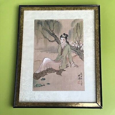 Antique Qing Chinese Ink On Silk Painting Seal Signed Beauty Sitting Near Water