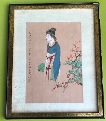 Antique Chinese Woman In A Robe Watercolor Ink On Silk Painting Seal Signed