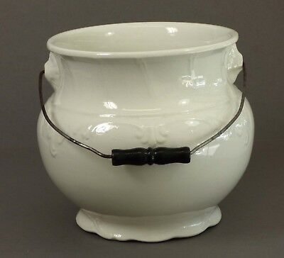 Antique Large White Ironstone Waste Bucket Slop Pot