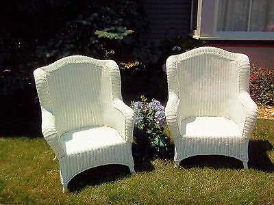 White Caned VTG Wicker Garden Porch Lawn Patio Victorian Over-sized Big Chairs