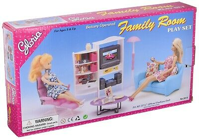 Playful Barbie Size Doll House Furniture- 2014, Family Room, TV, Couch, Ottoman