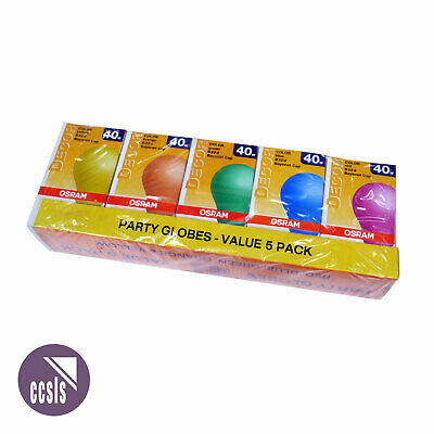 5-Pack 40W Coloured Lamps with BC Base