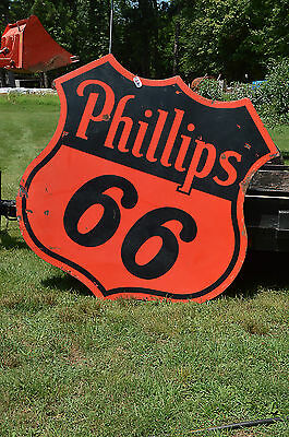 """REDUCED!!! Phillips 66 - 72"""" 1949 Double-sided Porcelain Sign"""