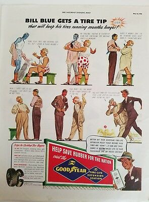1942 Goodyear rubber fat man red white polka dot underwear Tire tip ad