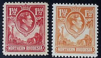 RARE 1938 Northern Rhodesia pr 1 1/2d KGVI stamps inc rare carmine red shade Mnt