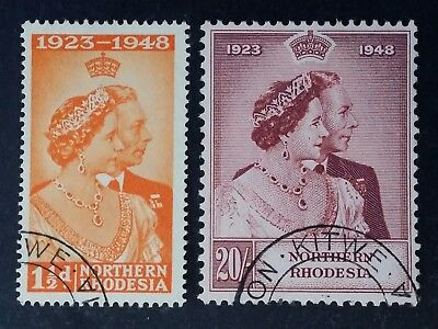 RARE 1948 Northern Rhodesia pair of Royal Wedding Silver Anniversary stamps CTO
