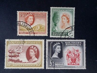 SCARCE 1953 Southern Rhodesia lot of 4 QE2 High Value stamps Used