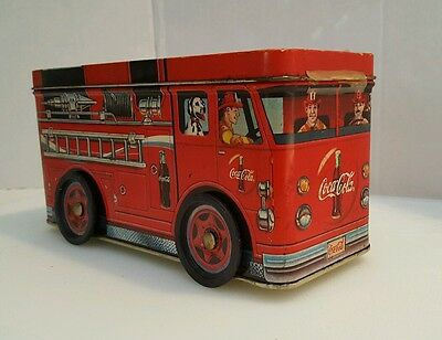 2002 Coca Cola Fire Truck Metal Bank - Used