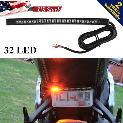 32 LED RED Motorcycle Integrated Tail Brake Stop Turn Signal Light Lamp Strip BX