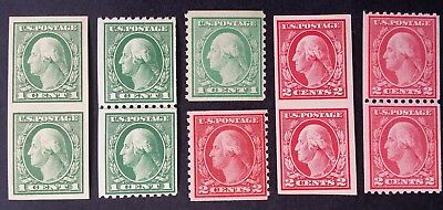 SCARCE 1908- United States lot of 10 Coil & Imperf George Washington stamps MUH