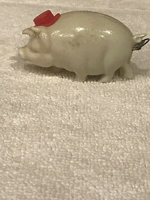 Vintage Celluloid Figural Pig With Red Top Hat Measuring Tape Japan
