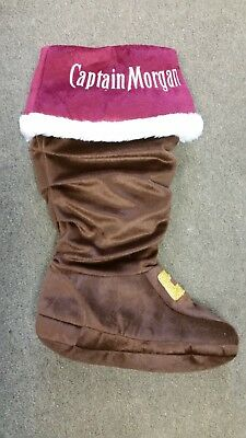 Captain Morgan Holiday Stocking Gold sparkle buckle brown boot maroon top cuff