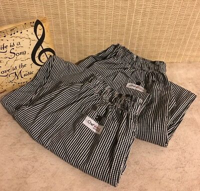 Lot of 2 Chef Works XL Chefs Pants Black and White Stripes Restaurant wear