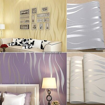 Function Roll 3D Embossed Flocking Waves Textured Non-woven Wallpaper -10M
