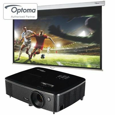 Optoma HD142x Full HD 1080p 3D Projector  92 Inches DS 9092PWC Screen Black New