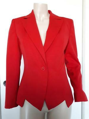 CUE amazing red wool blend tailored jacket blazer size 10 EUC Made in AU