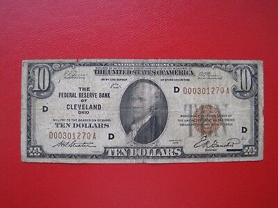 "10 Dollar 1929  CLEVELAND  ""NATIONAL BANKNOTE"""