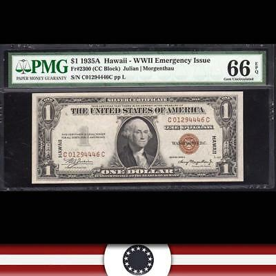 GEM 1935-A $1 Hawaii Emergency Note C-C Block  PMG 66 EPQ Fr 2300 C01294446C