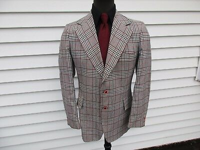 Vintage 70's Plaid Leisure Suit Jacket Curlee White Red Black Blazer 44L