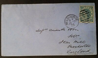 Scarce 1873- Victoria Australia 6 d Blue Laureate Stamp on cover Melbourne to UK