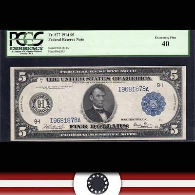 1914 $5 MINNEAPOLIS Federal Reserve Note FRN PCGS 40  Fr 877 I9681878A