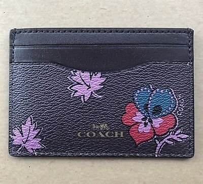 New Coach Wildflower Printed Card Case Credit Card Holder Mini Wallet 12773