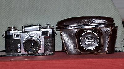 Contax IIIa with 1:1.5 f=50mm lens, case, 1361 Flash adapter, Instructions