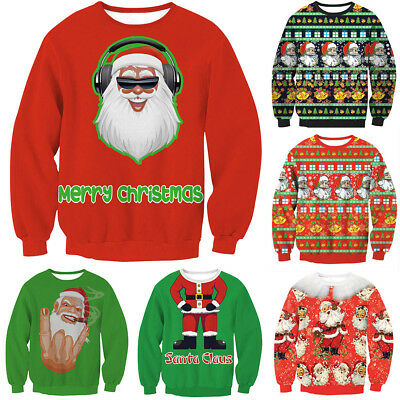 Unisex Damen Mens retro Ugly Naughty Knitted Xmas Christmas Jumper Pullover Top
