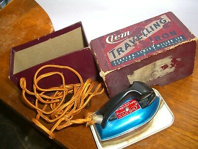 Vintage Clem travelling iron in original box