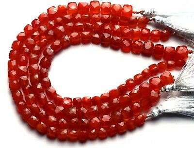 Natural Gem Carnelian 7 to 8MM Approx. Cube Shape Beads 10 Inch Strand