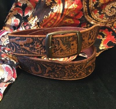 Retro Boho Western Hand Tooled Floral Genuine Tan Leather Mid Width Belt Sz M