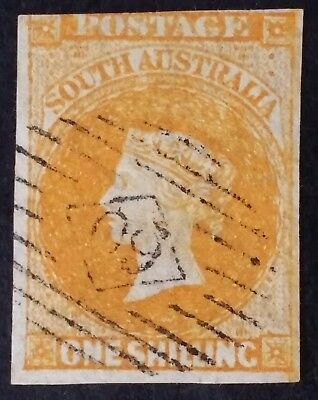 Rare 1858- South Australia 1/- Orange Imperf First Sideface Stamp Used
