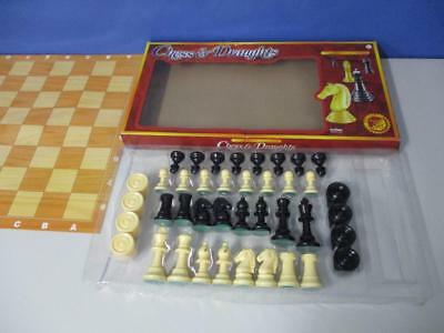 Halsall Games Vintage Traditional Chess & Draughts Set Large Plastic Pieces VGC