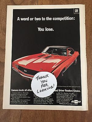 1969 Chevy Camaro SS Sport Coupe GM Magazine Advertisement Inside Front Cover