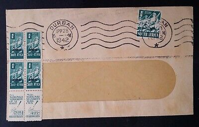 "1942 South Africa Window Cover ties 5 stamps with ""SWA"" Overprint and tabs"