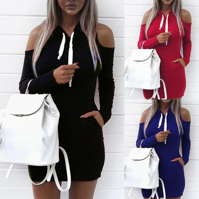 Women Hoodie Dress Long Sleeve Casual Hoodies Sweatshirt Sweater Jumper Pullover