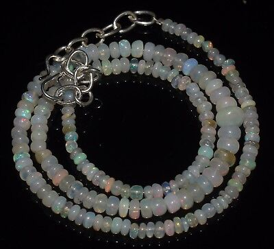 38 Ctw 3-5.5 Mm 15 Natural Genuine Ethiopian Welo Fire Opal Beads Necklace-R6566