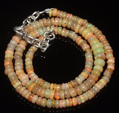 45 Ctw 3.5-6 Mm 15 Natural Genuine Ethiopian Welo Fire Opal Beads Necklace-R6554