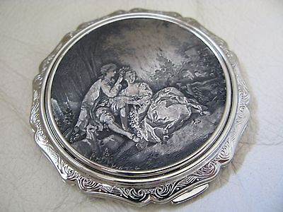 Vintage Silver T Pre Victorian Lovers Lithograph Scene Compact STRATTON ENGLAND