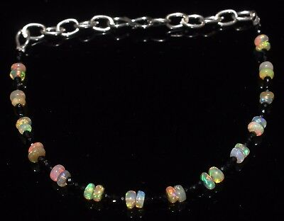 12 Ctw 1Bracelet  3to4 mm genuine ethiopian opal beads with spinal beads  R6264