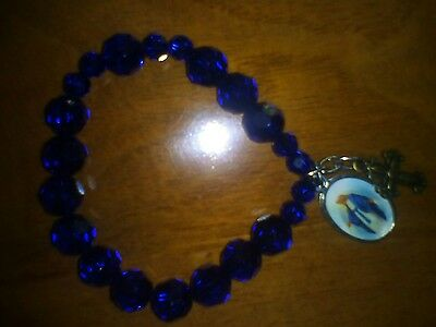 Rosary bracelet with crystal beads